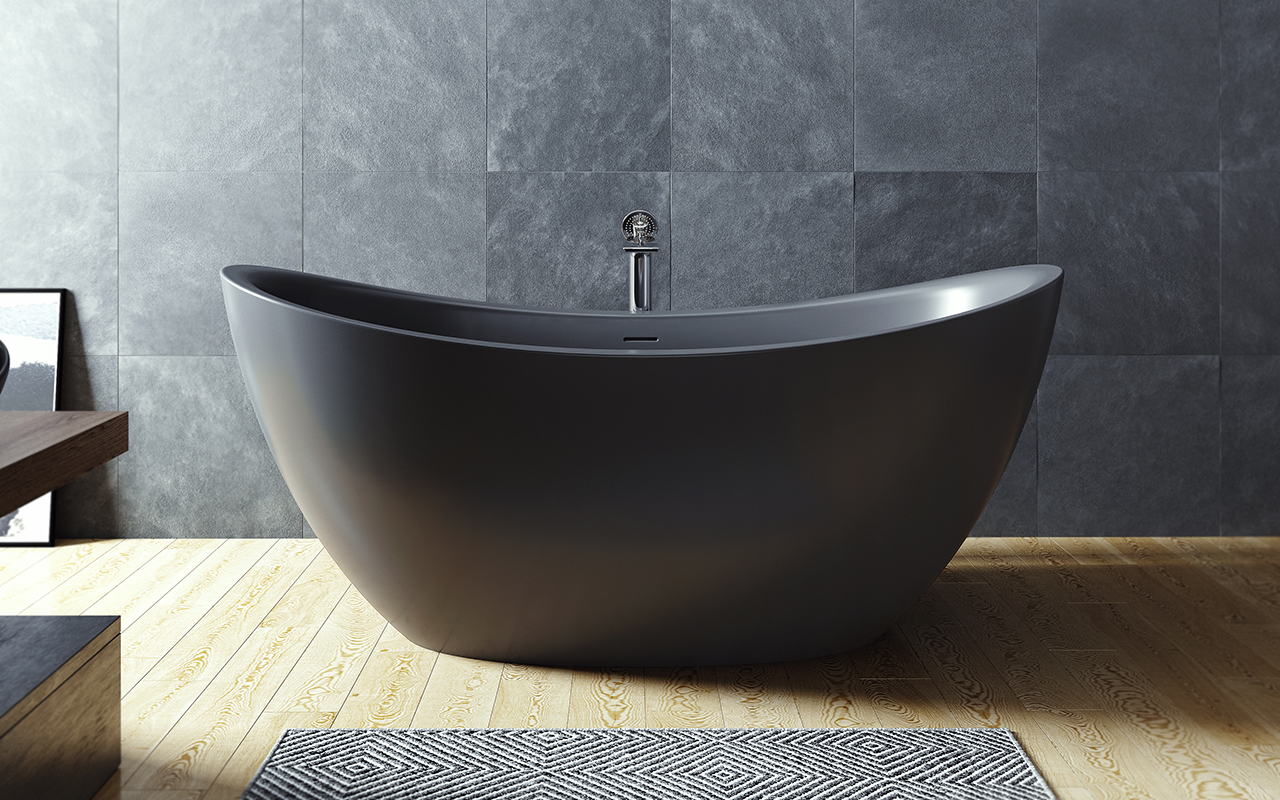 Aquatica Purescape 171 Black Freestanding Solid Surface Bathtub