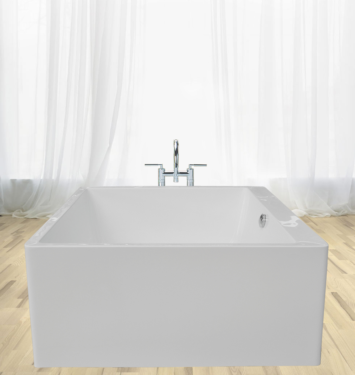 Square Tub Aquatica Purescape™ 324 Freestanding Acrylic Bathtub
