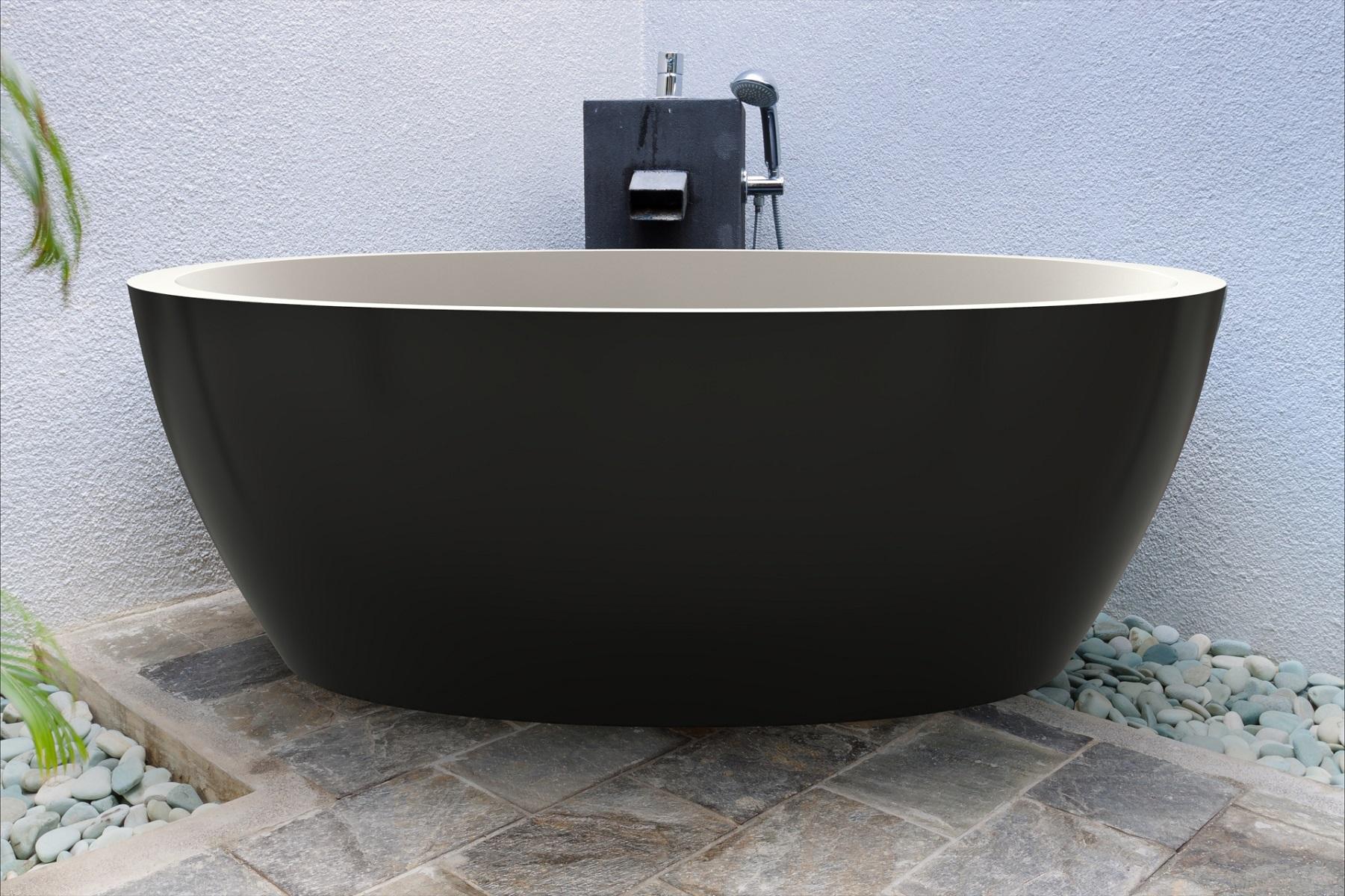 Aquatica Sensuality Black Wht Freestanding Solid Surface Bathtub