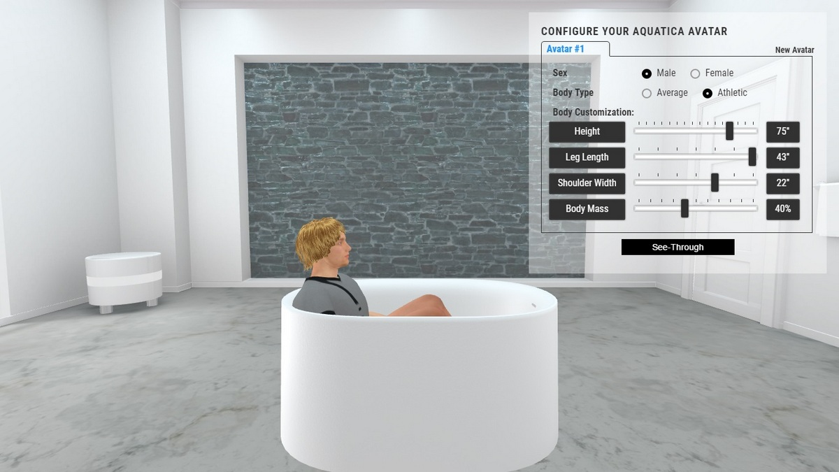 Sophia Bathtub 3D Body Position