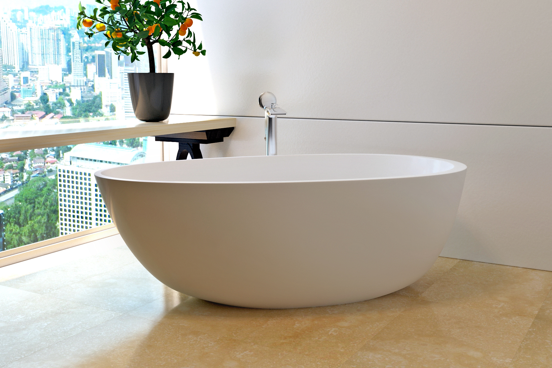 Aquatica Spoon 2 Purescape 204AM Egg Shaped Freestanding Solid Surface Bathtub
