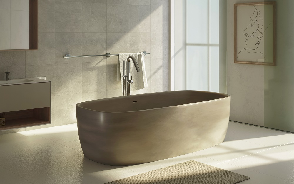 Natural stone bathtubs vs aquatex solid surface bathtubs for Soaking tub vs bathtub