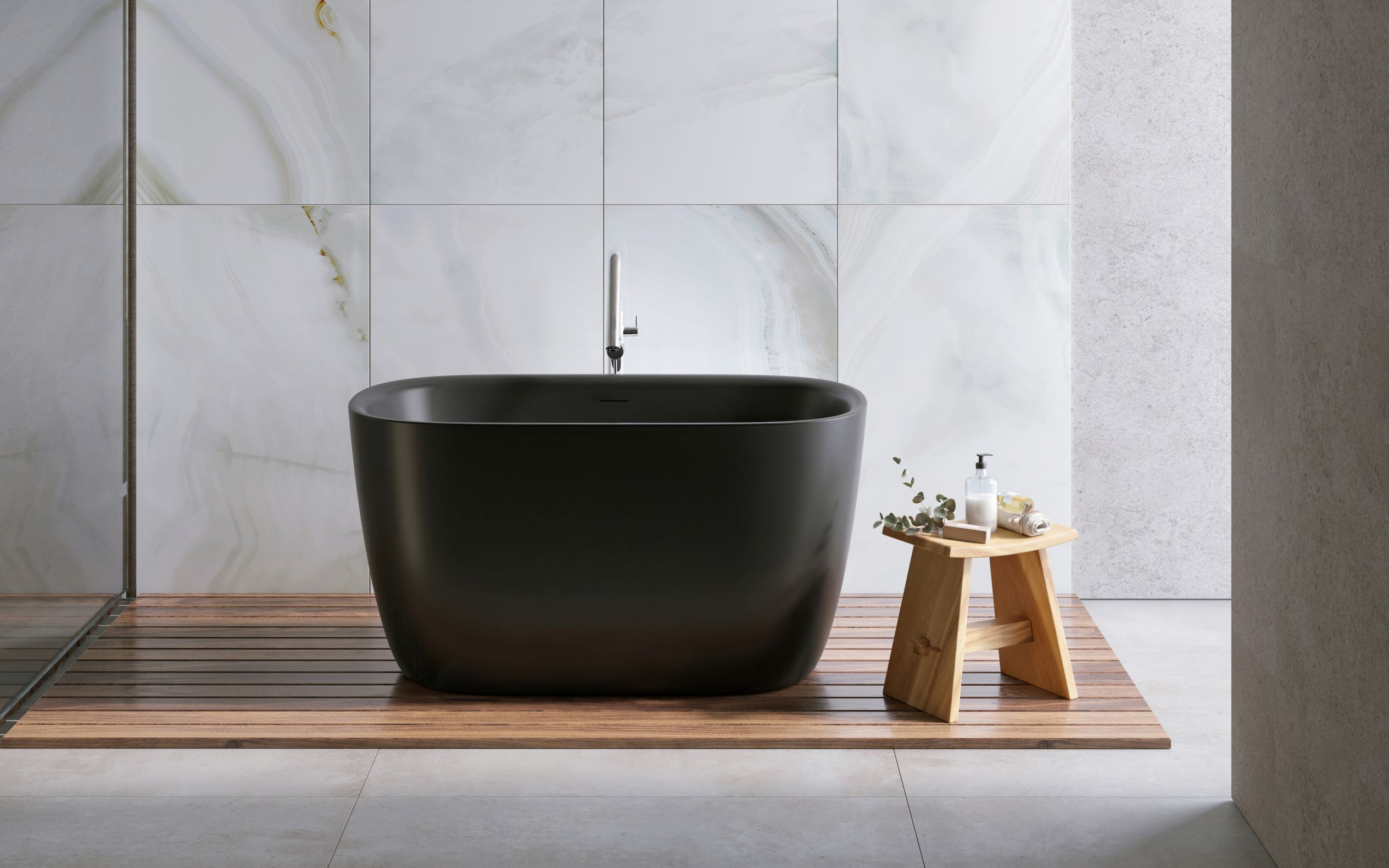 Aquatica Lullaby 2 Blck Small Freestanding Solid Surface Bathtub 01