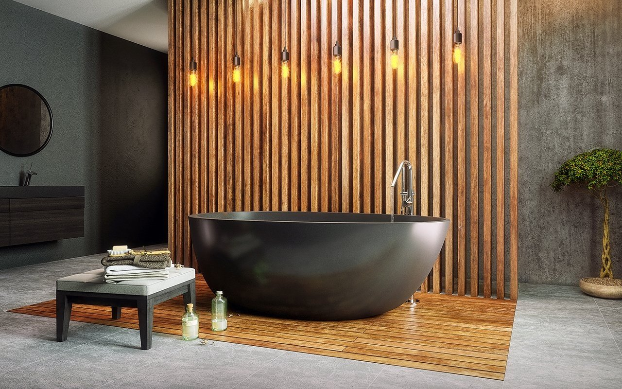 Natural bathroom elements: Warm wood panels and the organic-shaped black hot tub offer a beautiful breath of fresh air