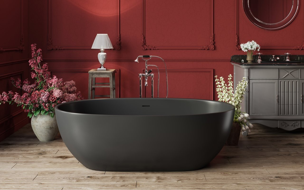 Modern French-style bathroom: black soaking tub, moldings on the red wall, grey bathroom furniture and the classic faucets and shower attachments