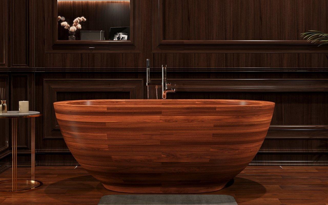 Wooden soaking bathtub