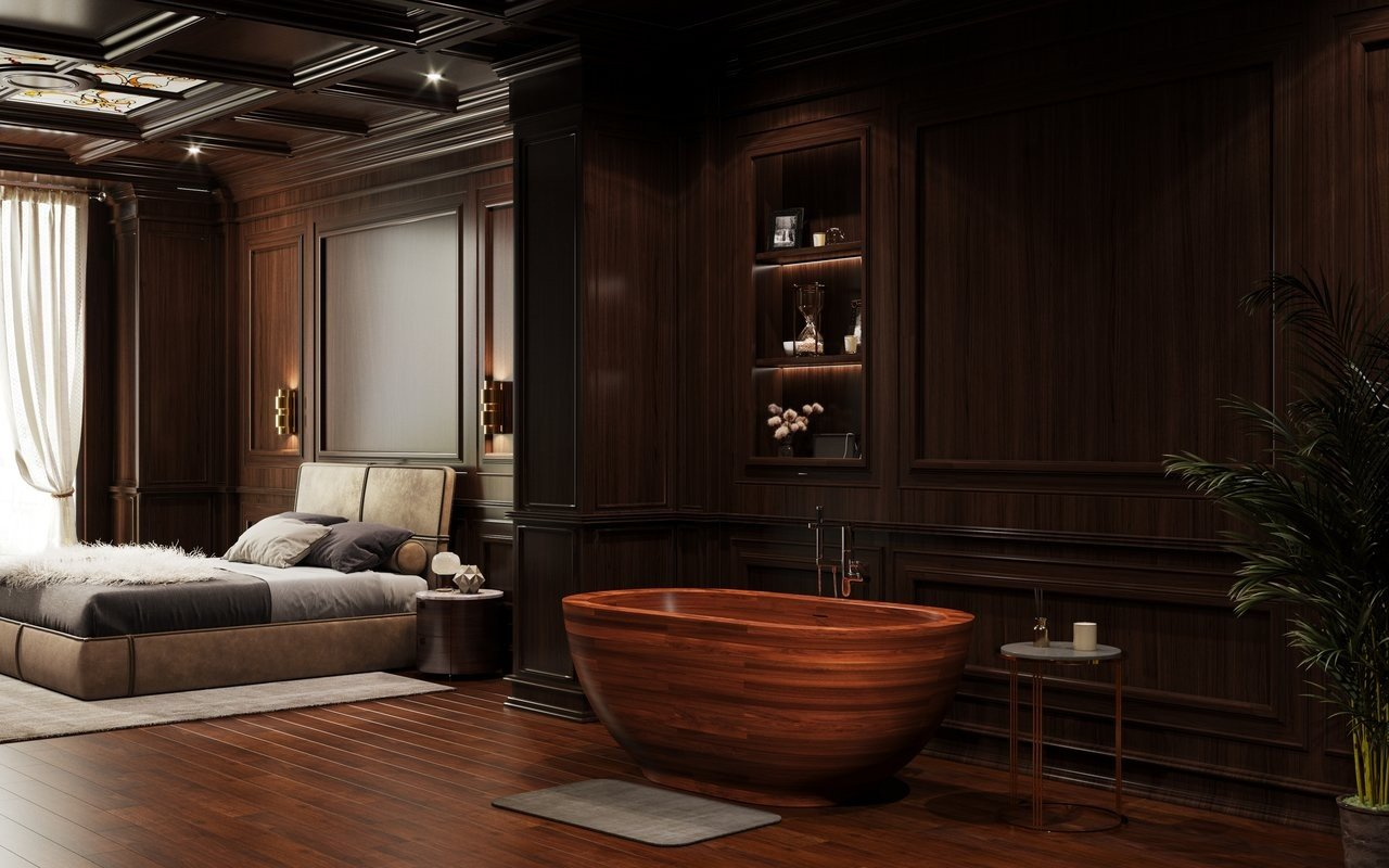 Freestanding Wooden Bathtub in the room