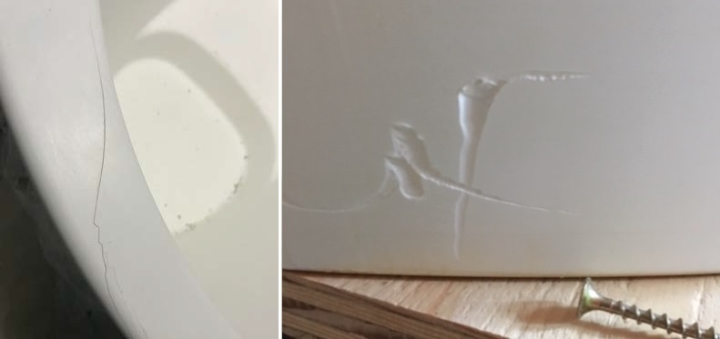 Bathtub with a crack on the rim due to side impact (left) and job side accident caused damage (right)