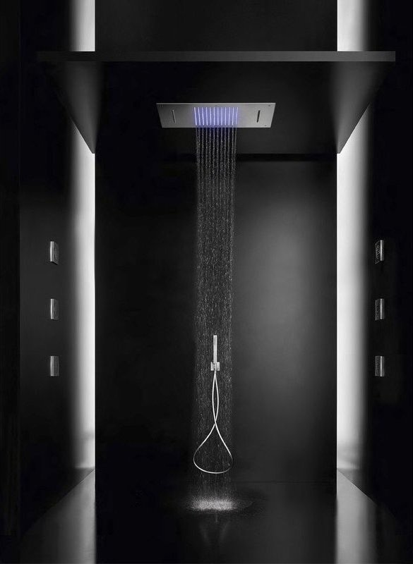 Stainless steel built-In shower head with chromotherapy lighting