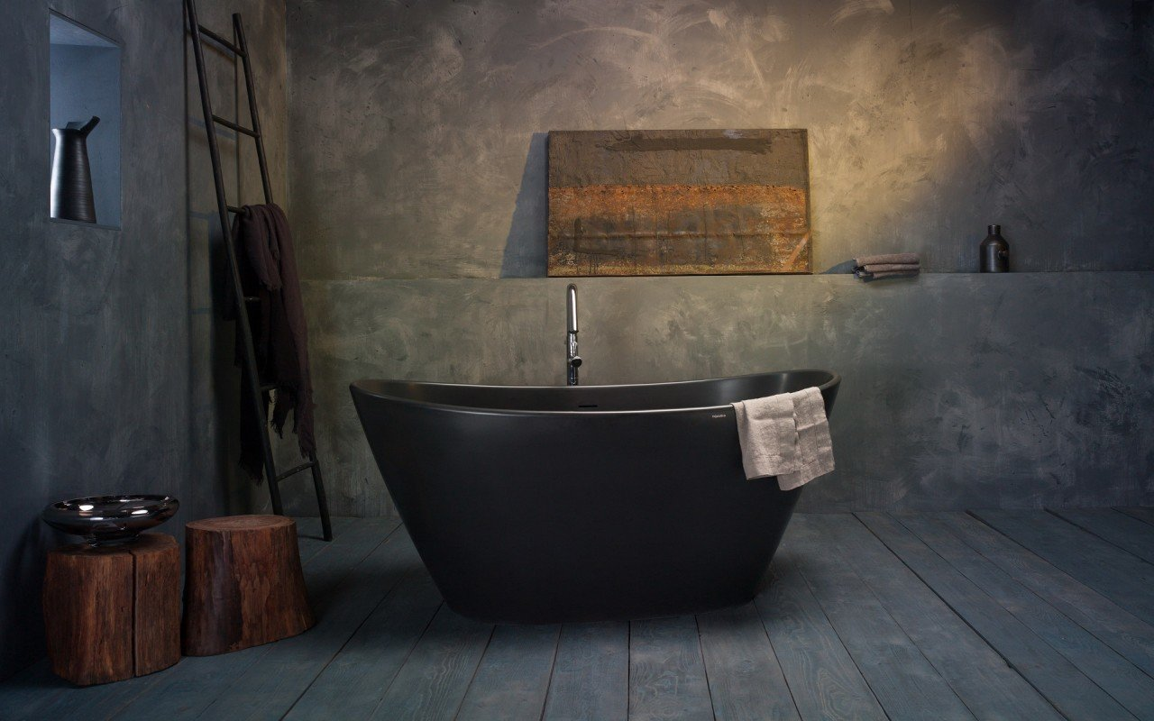 Dark bathroom decor - black freestanding tub in a combination of black, grey and wood decoration