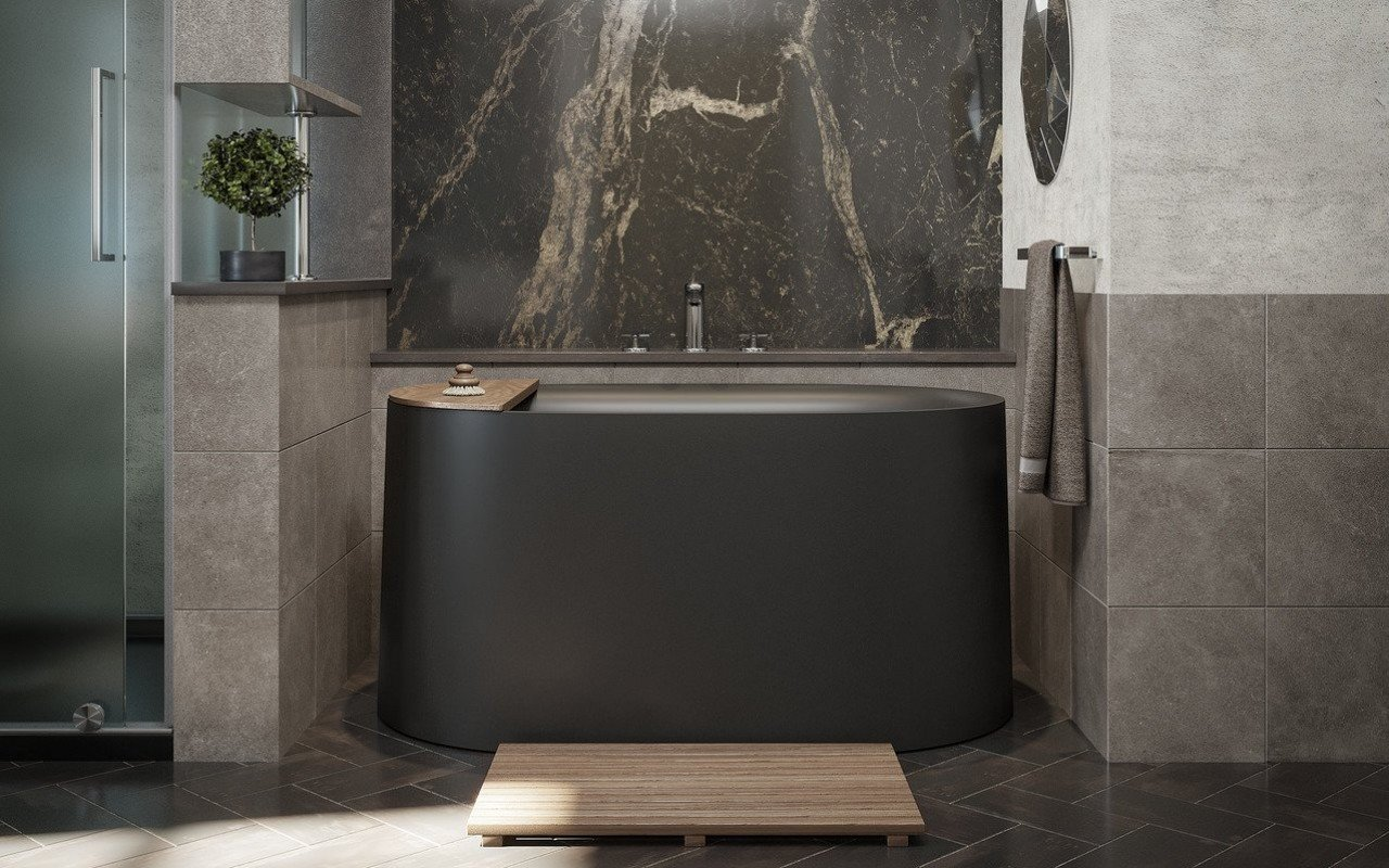 Black freestanding soaking tub