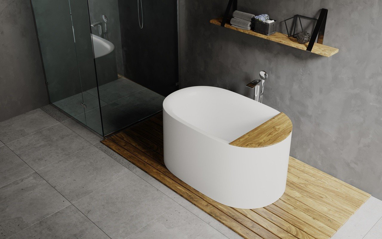 Freestanding Solid Surface Bathtub with a built-in shower