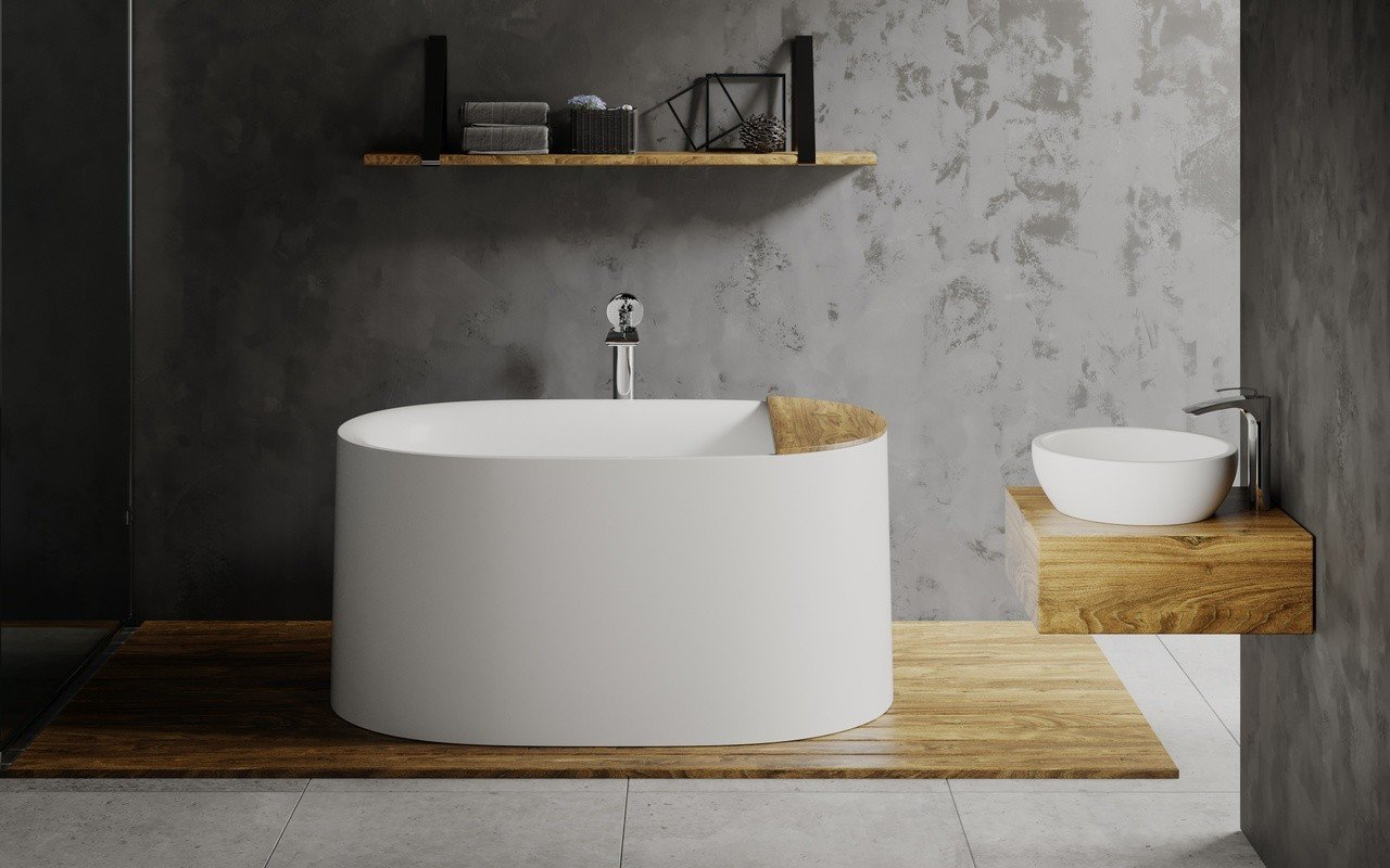 Sophia freestanding stone bathtub by Aquatica