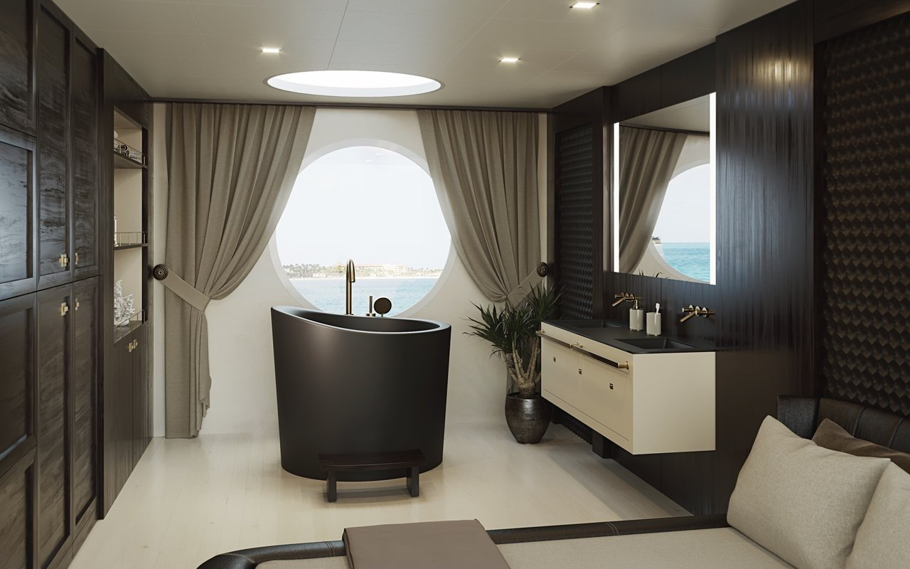 Black and white bathroom design ideas: Modern black freestanding tub in the center of the room framed with a picture window