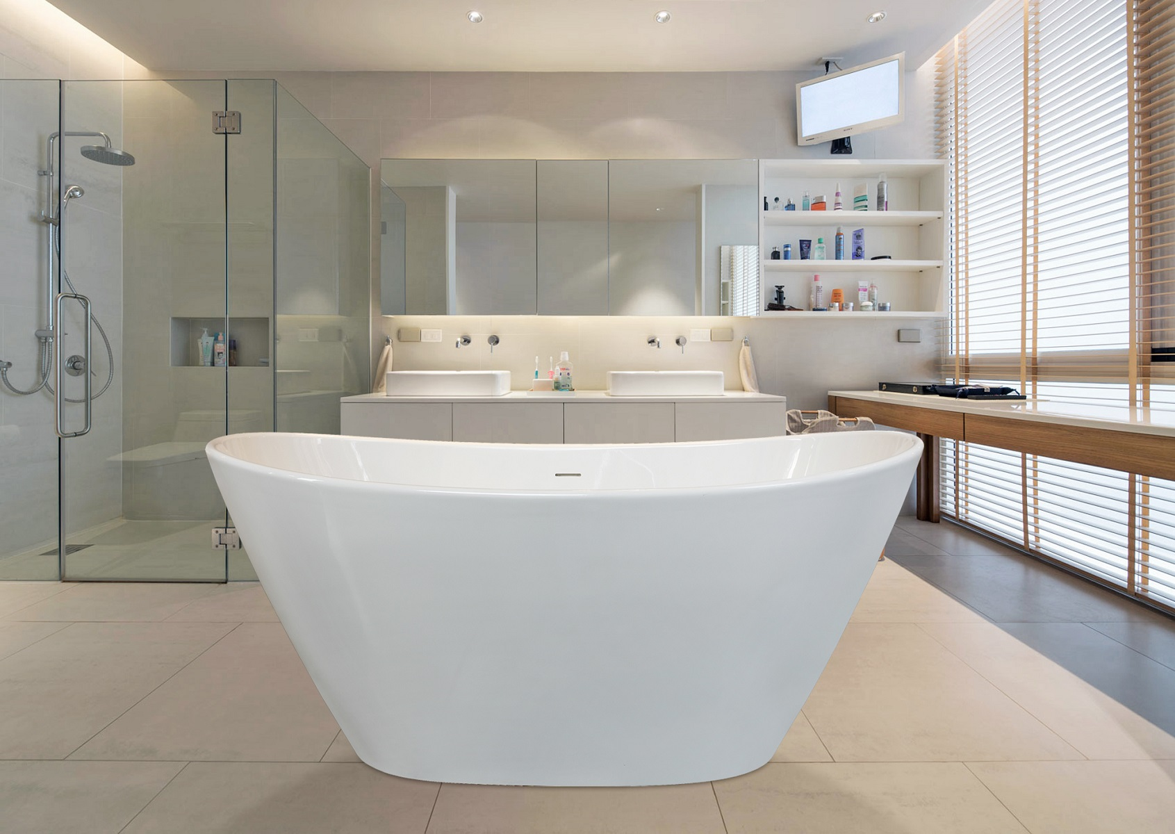 centered bathtub